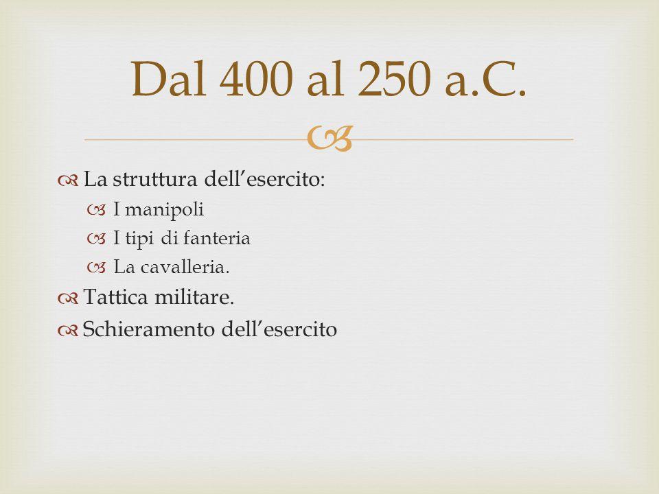 Dal 400 al 250 a.C. La struttura dell'esercito: Tattica militare.