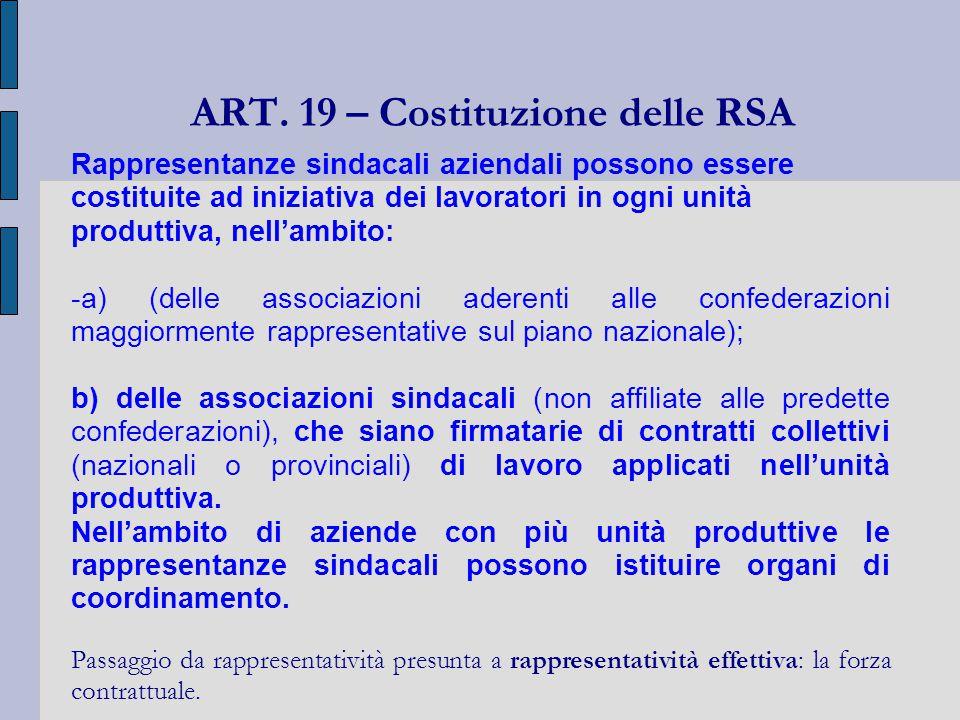 ART. 19 – Costituzione delle RSA