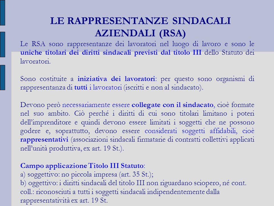 LE RAPPRESENTANZE SINDACALI AZIENDALI (RSA)
