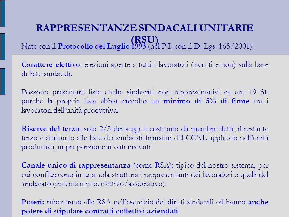 RAPPRESENTANZE SINDACALI UNITARIE (RSU)