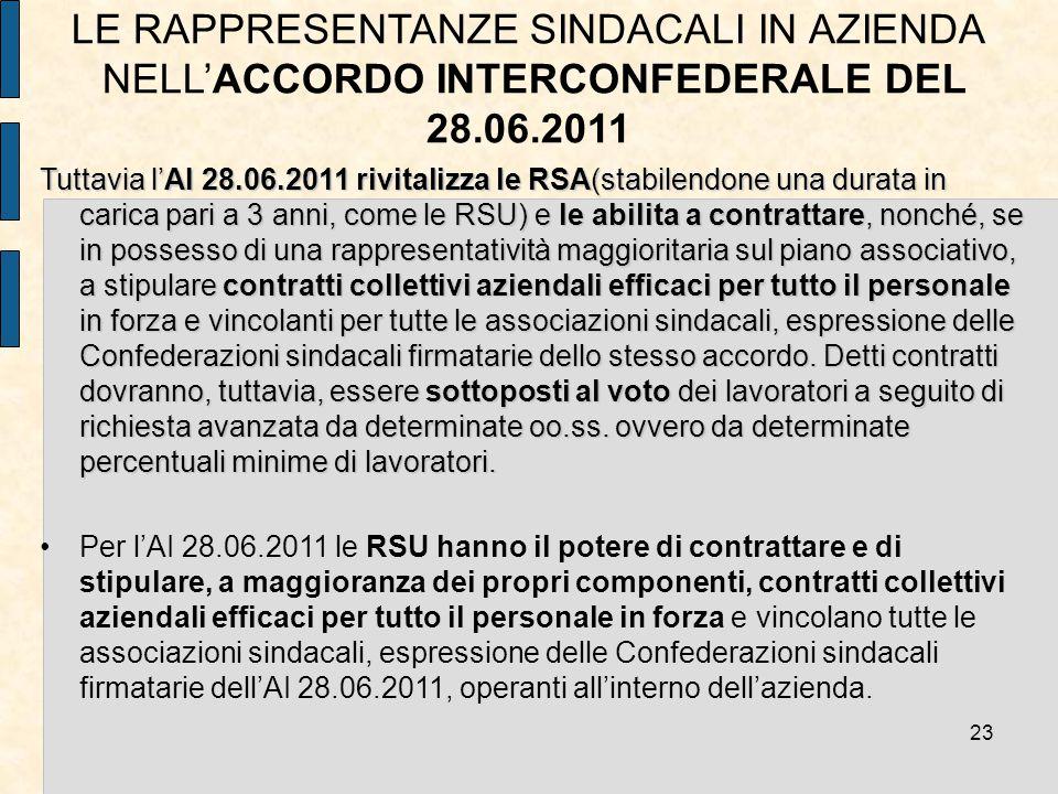 LE RAPPRESENTANZE SINDACALI IN AZIENDA NELL'ACCORDO INTERCONFEDERALE DEL 28.06.2011