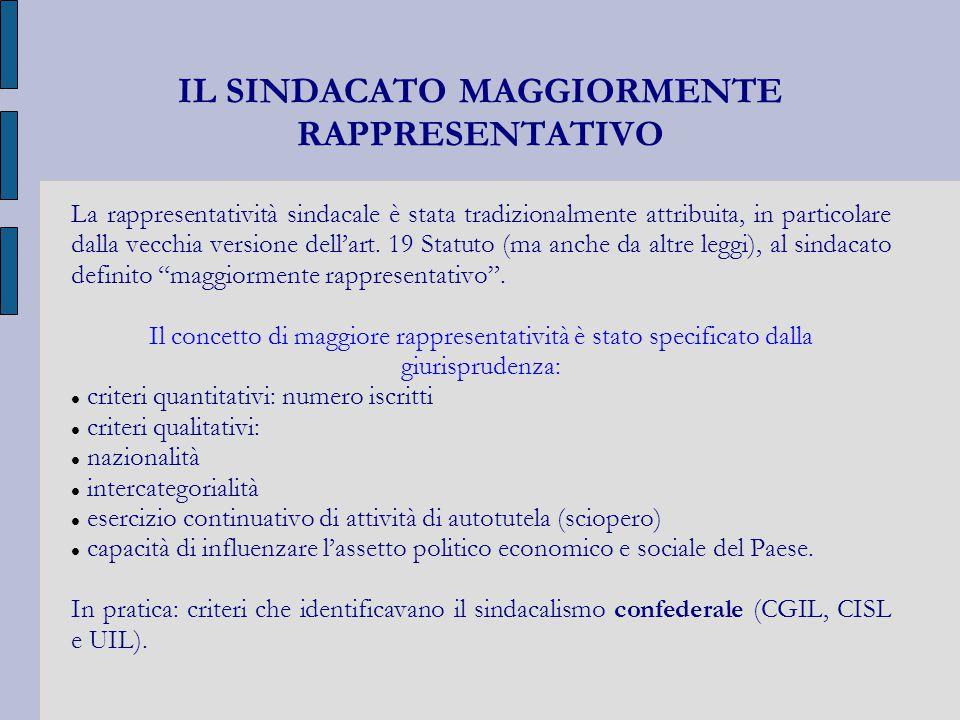 IL SINDACATO MAGGIORMENTE RAPPRESENTATIVO