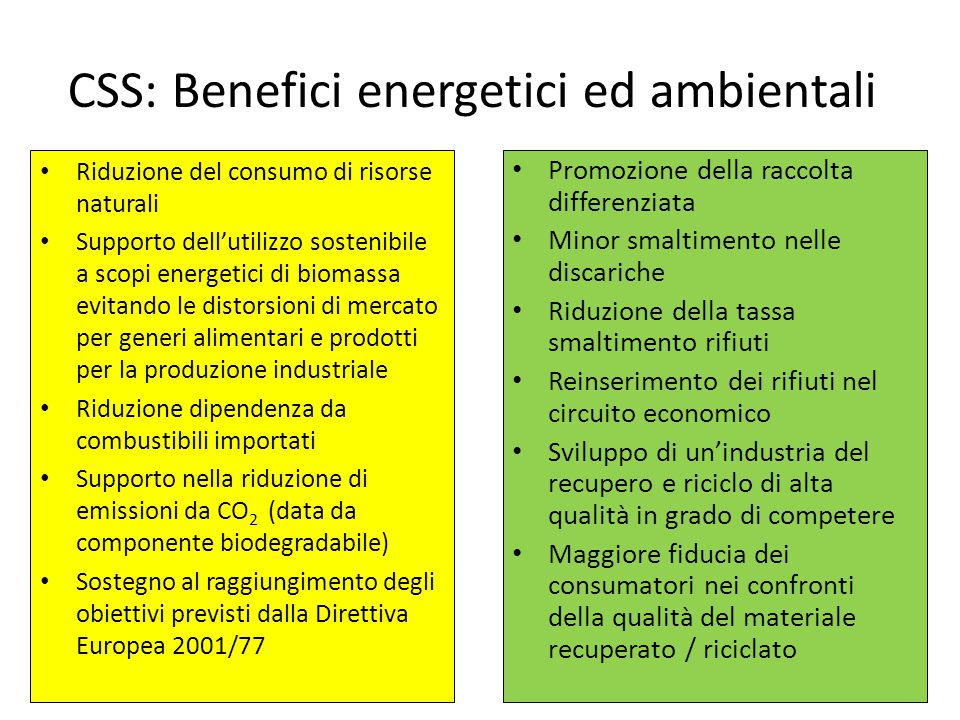 CSS: Benefici energetici ed ambientali