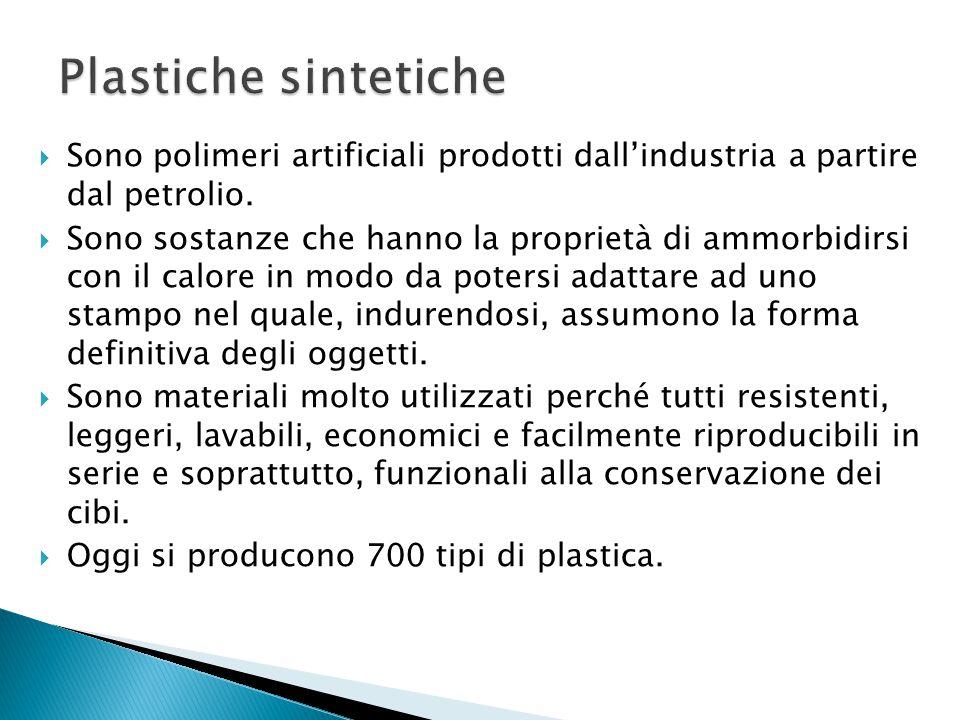 Plastiche sintetiche Sono polimeri artificiali prodotti dall'industria a partire dal petrolio.