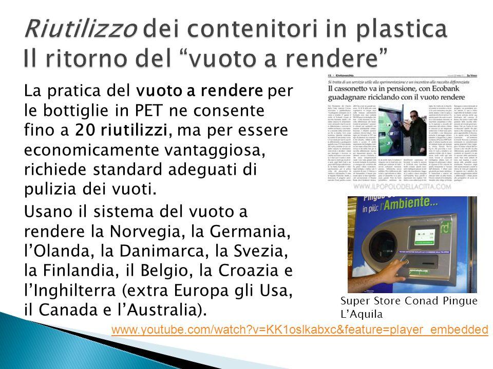 Riutilizzo dei contenitori in plastica Il ritorno del vuoto a rendere