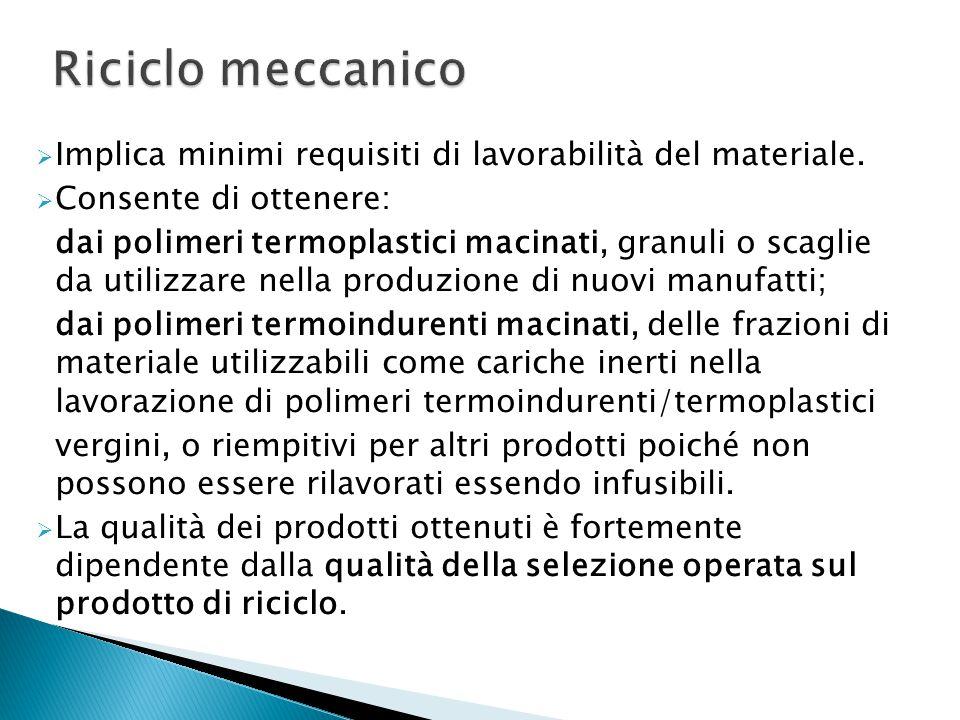 Riciclo meccanico Implica minimi requisiti di lavorabilità del materiale. Consente di ottenere: