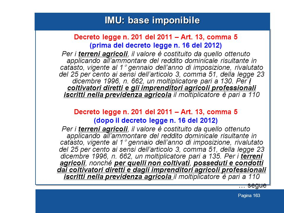IMU: base imponibile Decreto legge n. 201 del 2011 – Art. 13, comma 5
