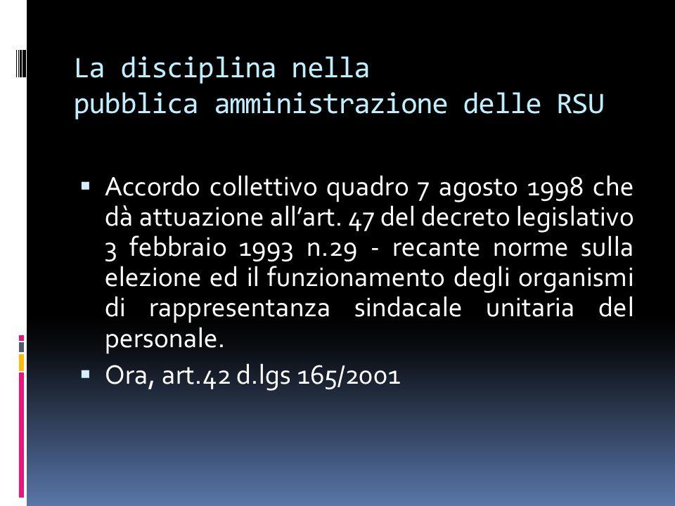 La disciplina nella pubblica amministrazione delle RSU