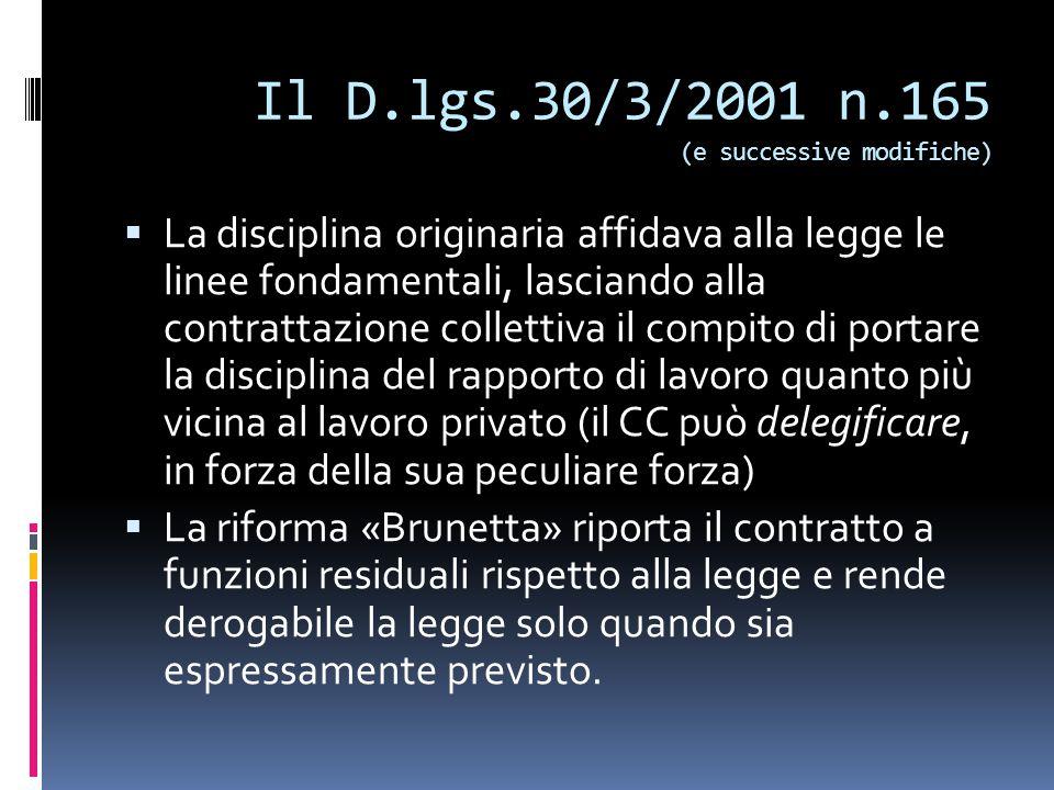 Il D.lgs.30/3/2001 n.165 (e successive modifiche)