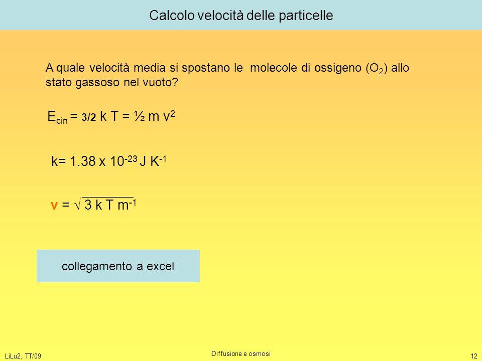 Calcolo velocità delle particelle