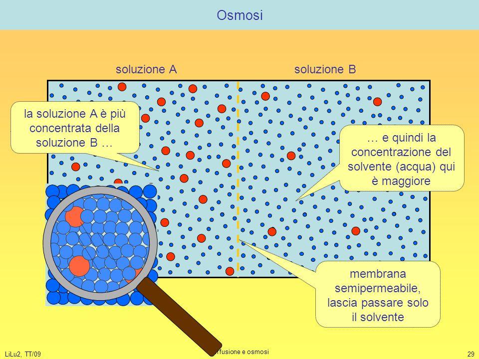 Osmosi soluzione A soluzione B