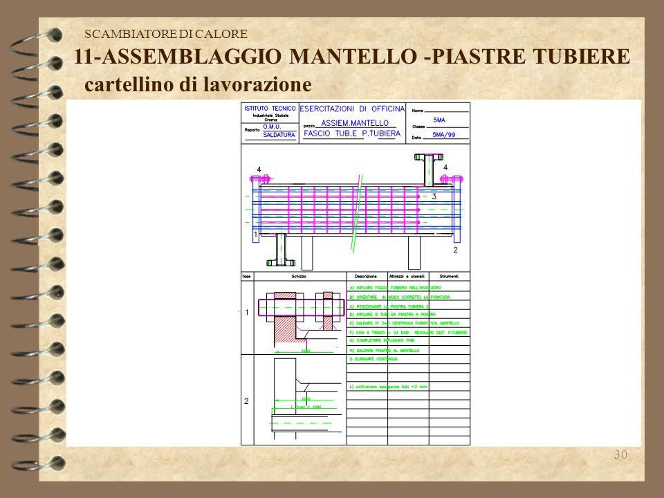 11-ASSEMBLAGGIO MANTELLO -PIASTRE TUBIERE cartellino di lavorazione