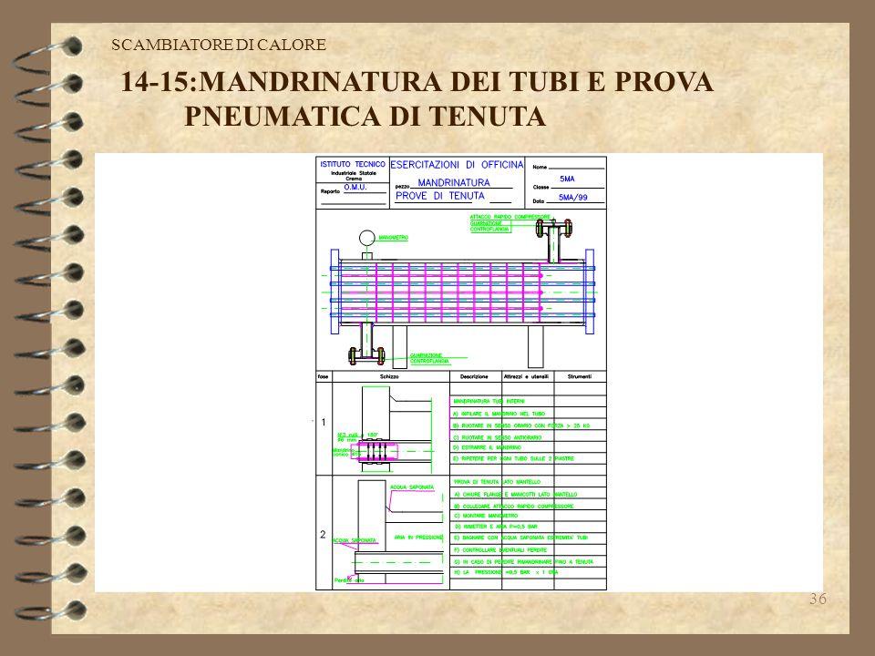 14-15:MANDRINATURA DEI TUBI E PROVA PNEUMATICA DI TENUTA