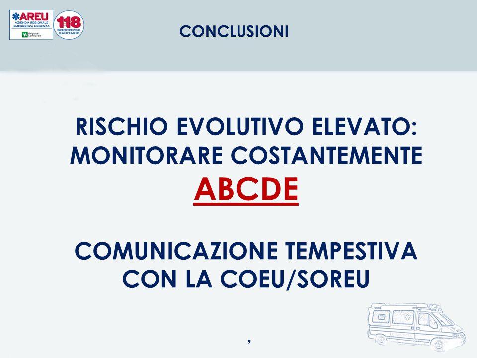 RISCHIO EVOLUTIVO ELEVATO: MONITORARE COSTANTEMENTE ABCDE