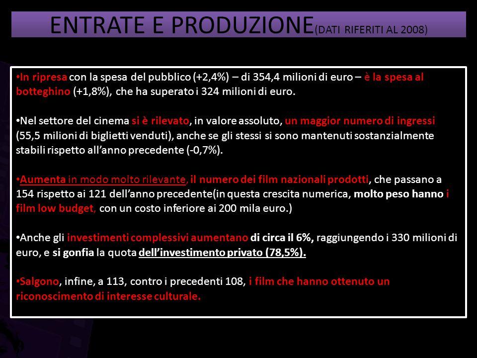 ENTRATE E PRODUZIONE(DATI RIFERITI AL 2008)