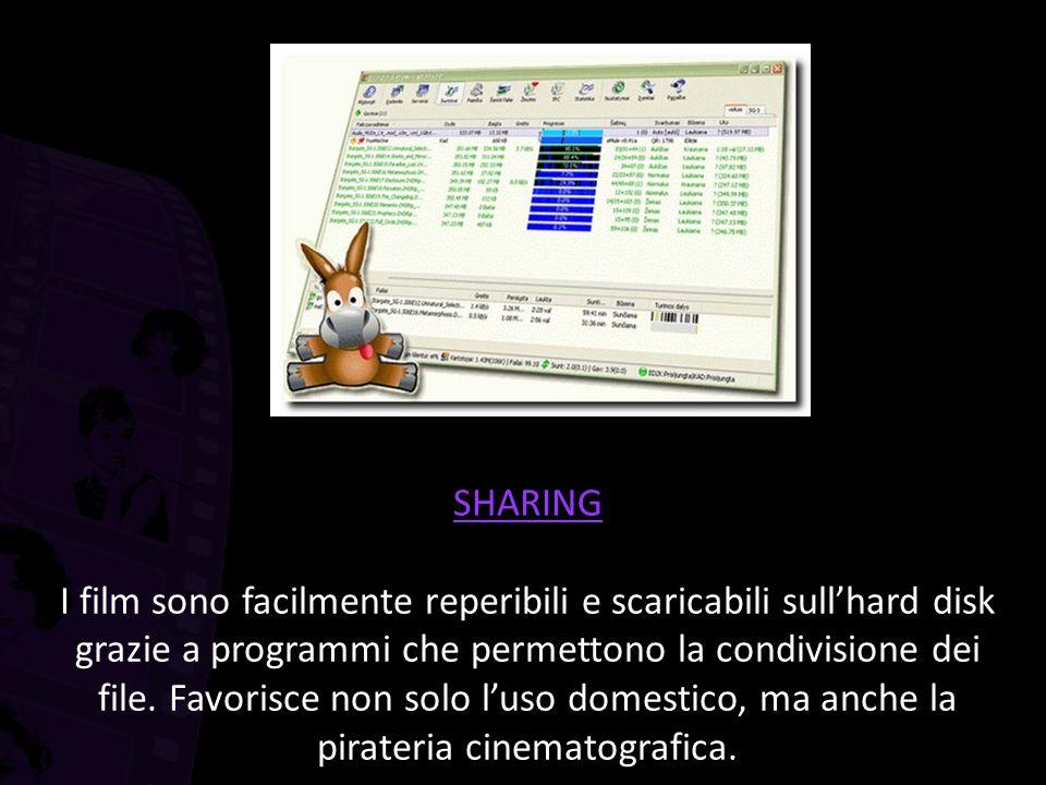 SHARING I film sono facilmente reperibili e scaricabili sull'hard disk grazie a programmi che permettono la condivisione dei file.