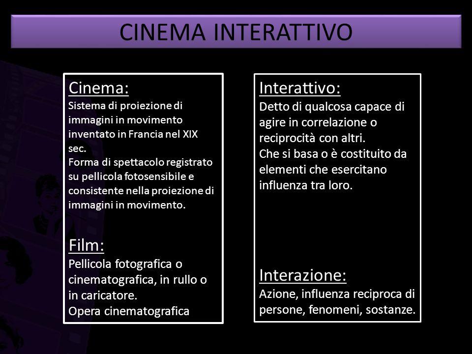 CINEMA INTERATTIVO Cinema: Film: Interattivo: Interazione: