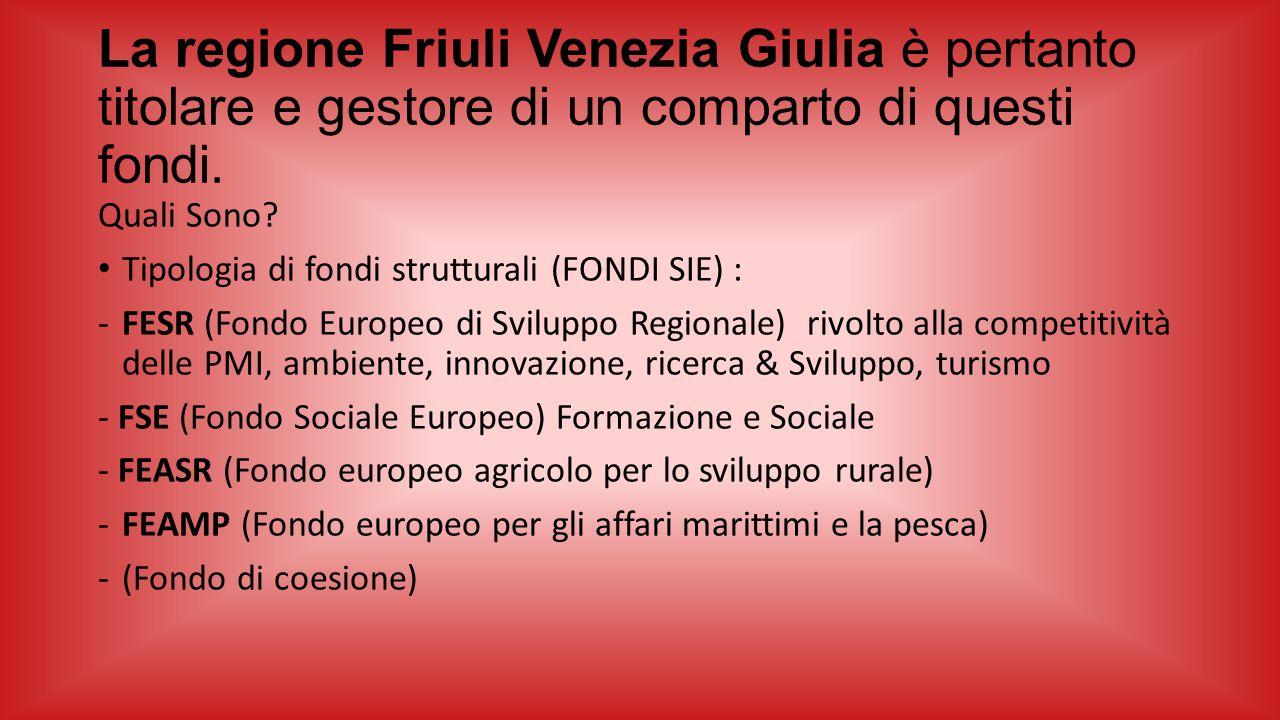 La regione Friuli Venezia Giulia è pertanto titolare e gestore di un comparto di questi fondi.