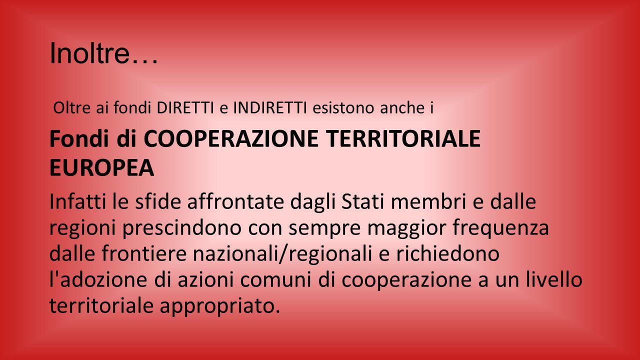 Inoltre… Fondi di COOPERAZIONE TERRITORIALE EUROPEA