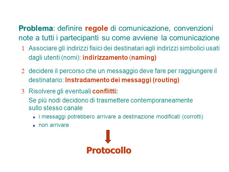 Problema: definire regole di comunicazione, convenzioni note a tutti i partecipanti su come avviene la comunicazione