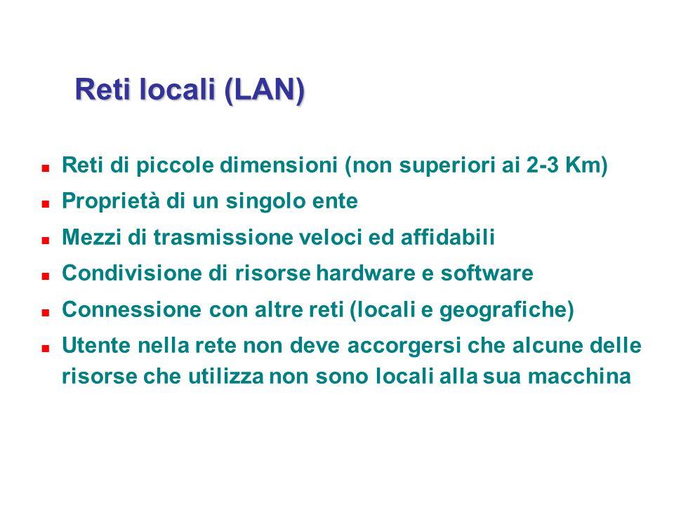 Reti locali (LAN) Reti di piccole dimensioni (non superiori ai 2-3 Km)