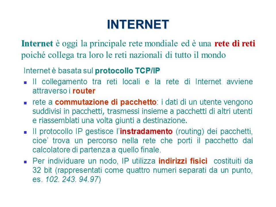 INTERNET Internet è oggi la principale rete mondiale ed è una rete di reti poiché collega tra loro le reti nazionali di tutto il mondo.