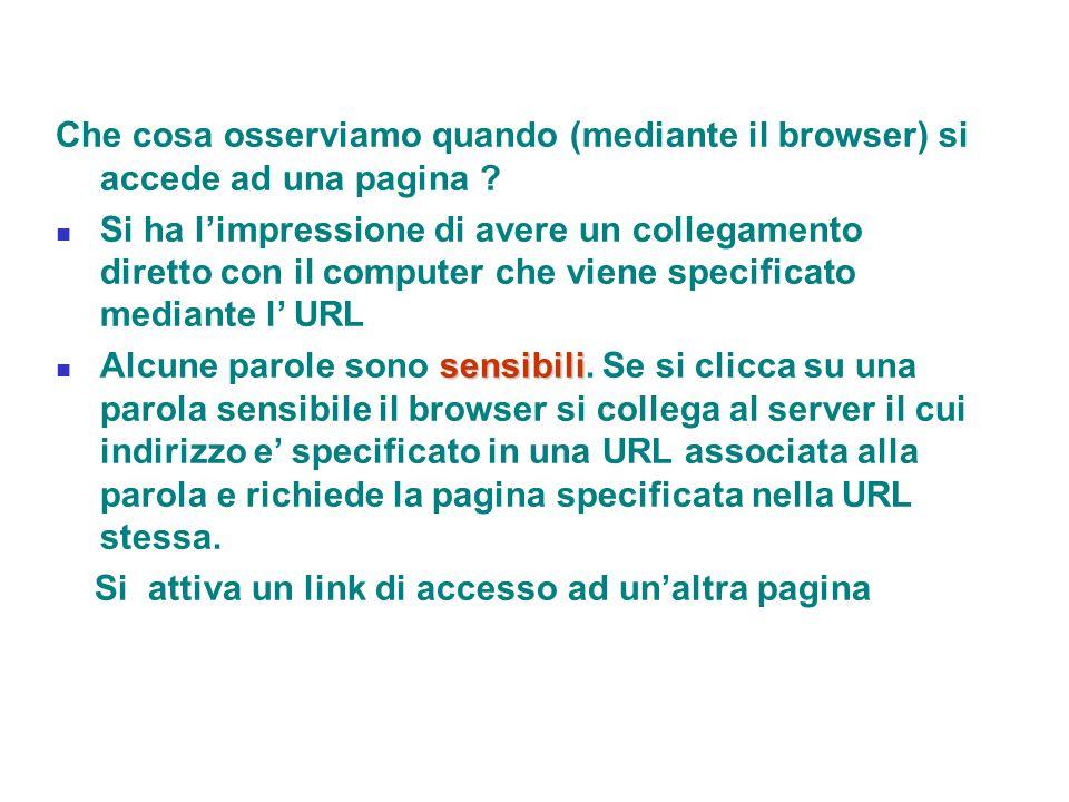 Che cosa osserviamo quando (mediante il browser) si accede ad una pagina