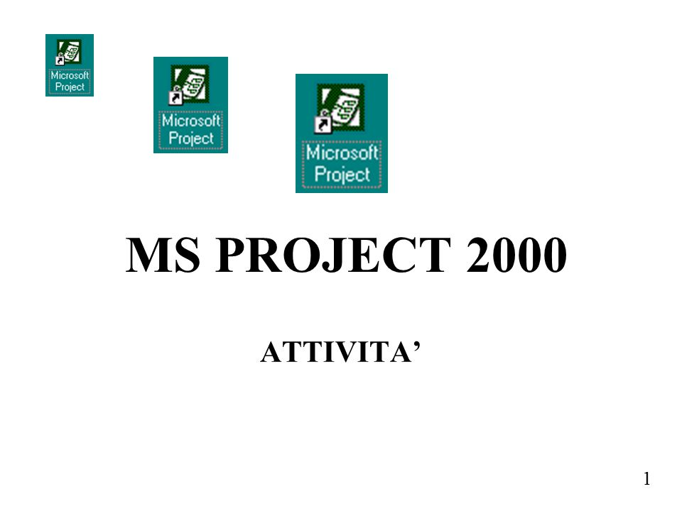 MS PROJECT 2000 ATTIVITA'