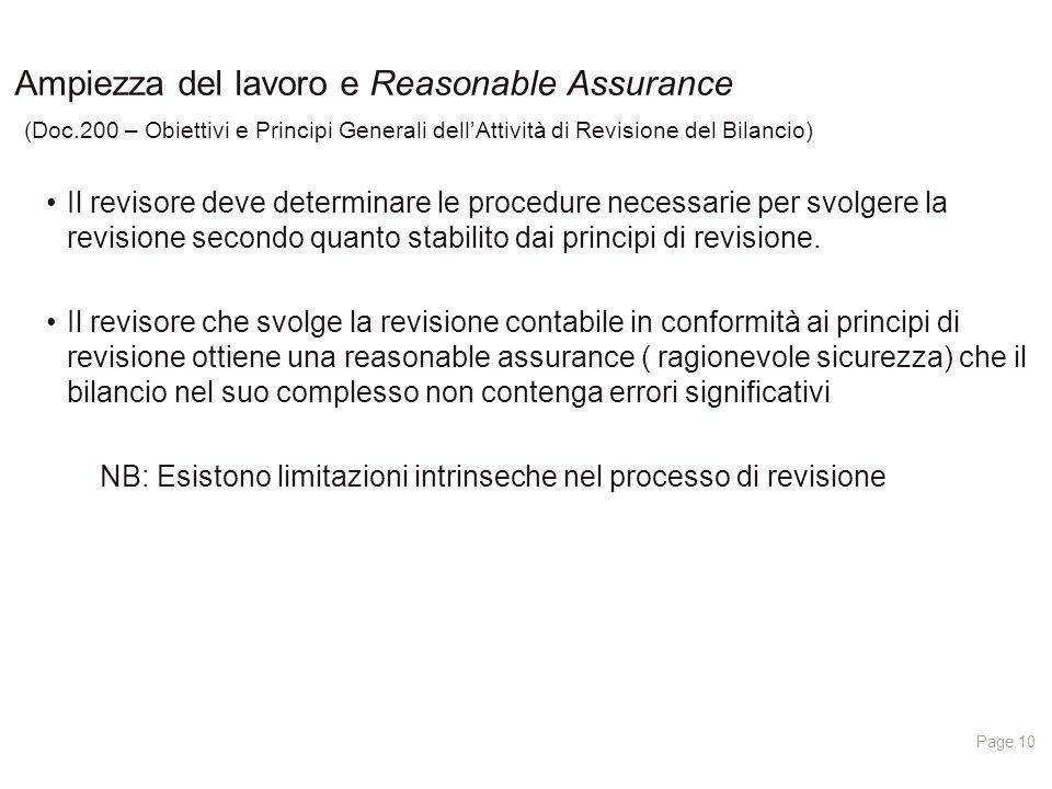 10/04/2017 Ampiezza del lavoro e Reasonable Assurance (Doc.200 – Obiettivi e Principi Generali dell'Attività di Revisione del Bilancio)