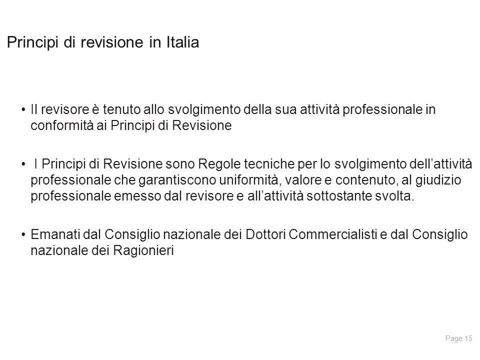 Principi di revisione in Italia