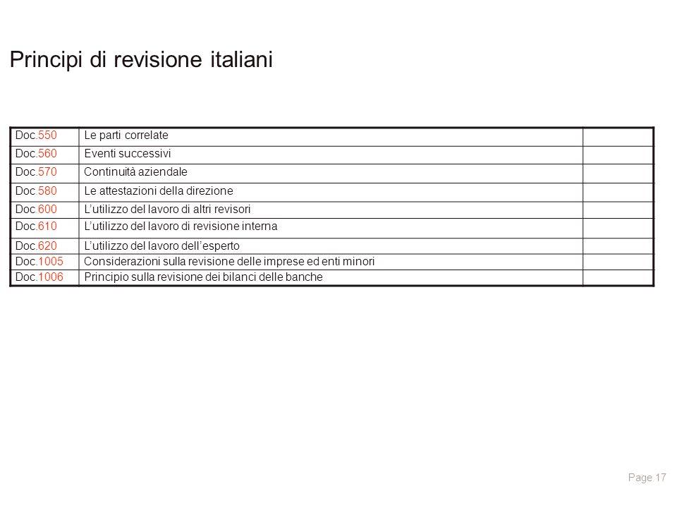 Principi di revisione italiani