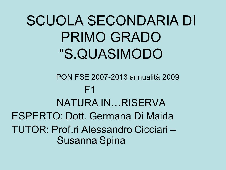 SCUOLA SECONDARIA DI PRIMO GRADO S.QUASIMODO