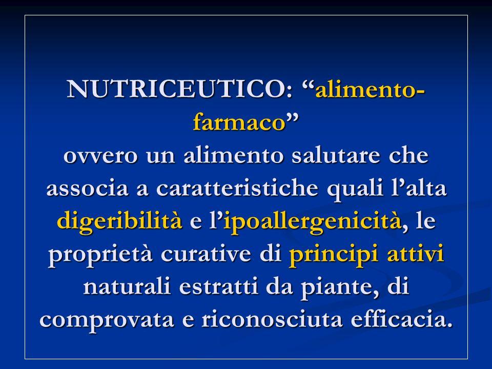NUTRICEUTICO: alimento-farmaco ovvero un alimento salutare che associa a caratteristiche quali l'alta digeribilità e l'ipoallergenicità, le proprietà curative di principi attivi naturali estratti da piante, di comprovata e riconosciuta efficacia.