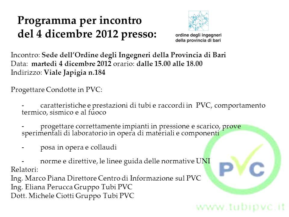 Programma per incontro del 4 dicembre 2012 presso: