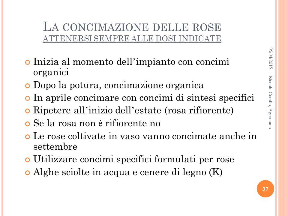 La concimazione delle rose ATTENERSI SEMPRE ALLE DOSI INDICATE