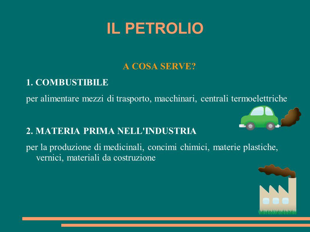 IL PETROLIO A COSA SERVE 1. COMBUSTIBILE