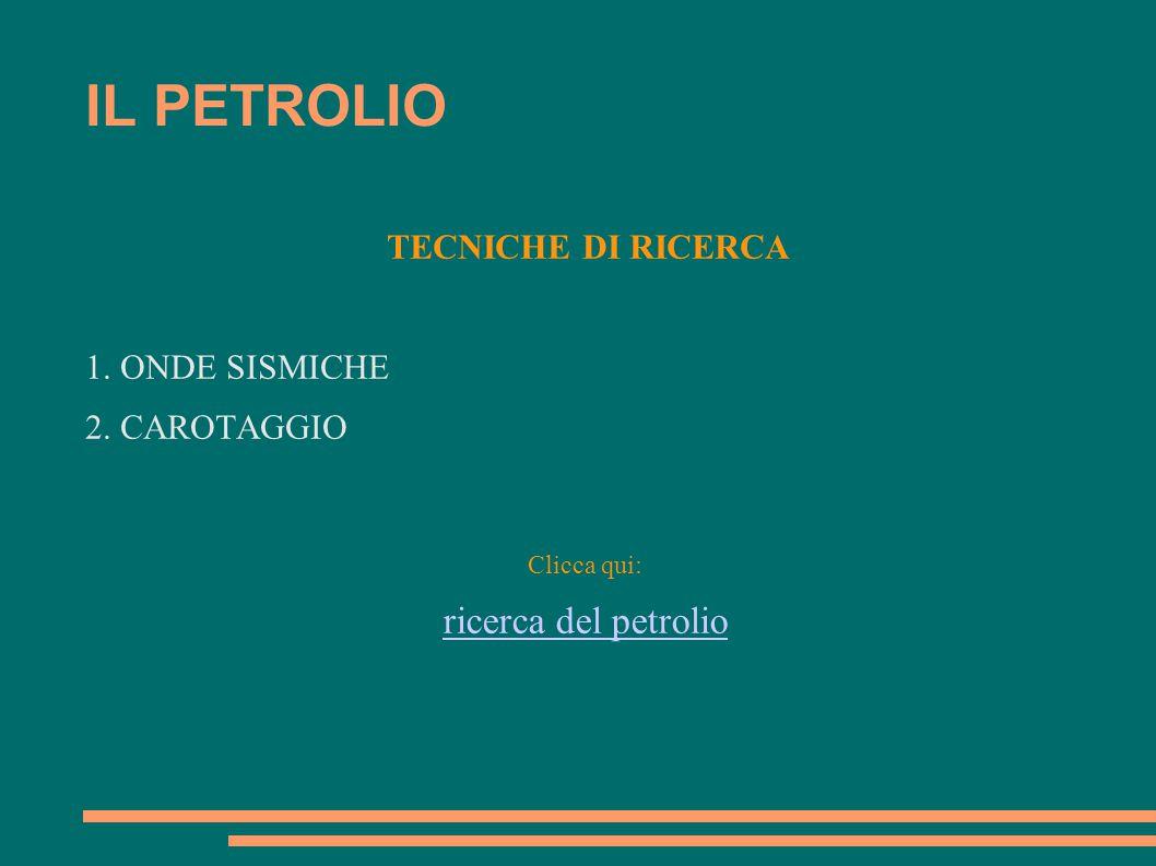 IL PETROLIO ricerca del petrolio TECNICHE DI RICERCA 1. ONDE SISMICHE