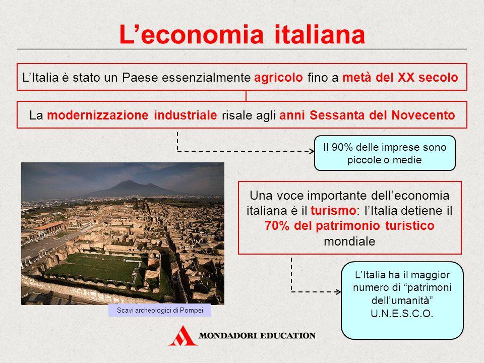 L'economia italiana L'Italia è stato un Paese essenzialmente agricolo fino a metà del XX secolo.