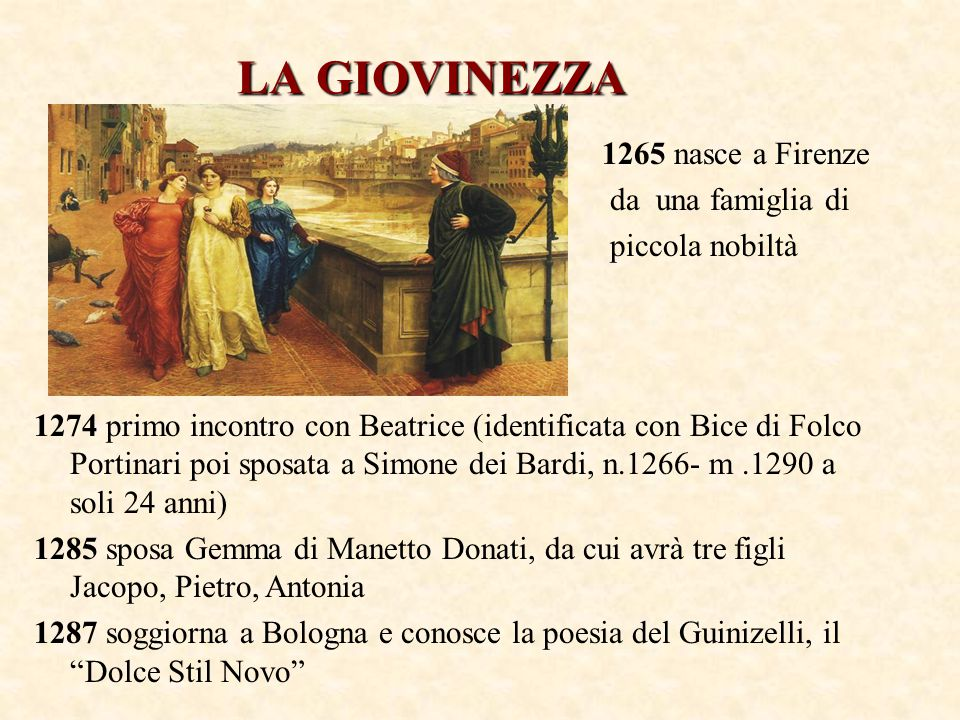 LA GIOVINEZZA 1265 nasce a Firenze da una famiglia di piccola nobiltà
