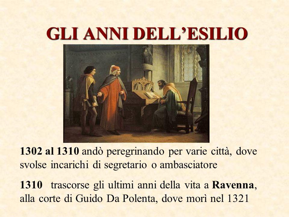 GLI ANNI DELL'ESILIO 1302 al 1310 andò peregrinando per varie città, dove svolse incarichi di segretario o ambasciatore.