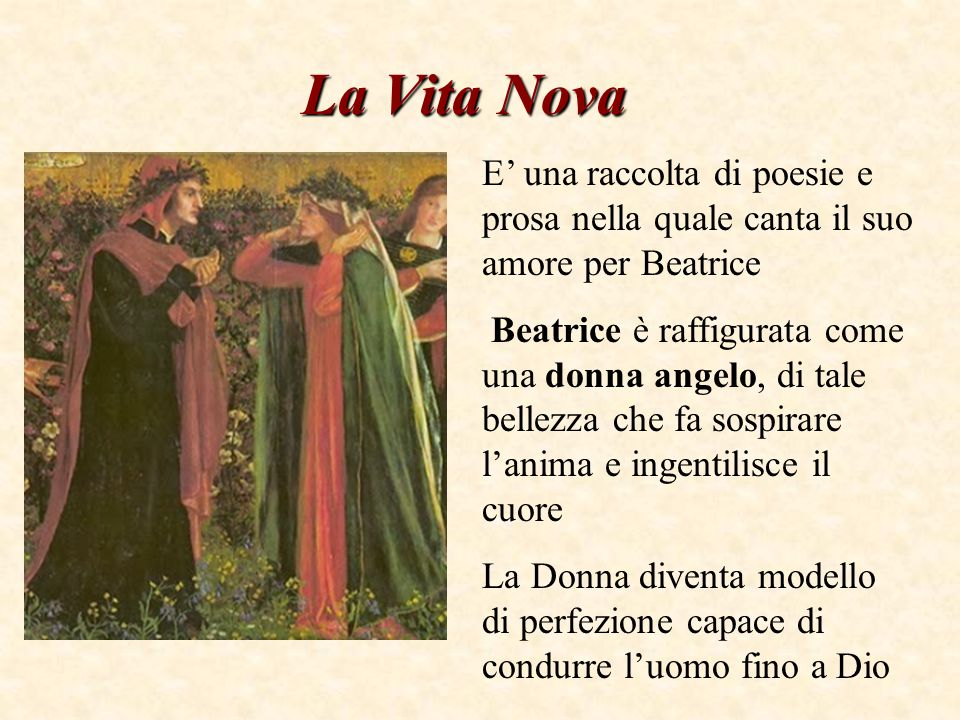 La Vita Nova E' una raccolta di poesie e prosa nella quale canta il suo amore per Beatrice.