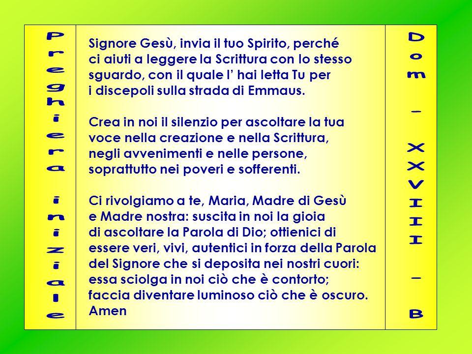 Preghiera iniziale Dom - XXVIII - B