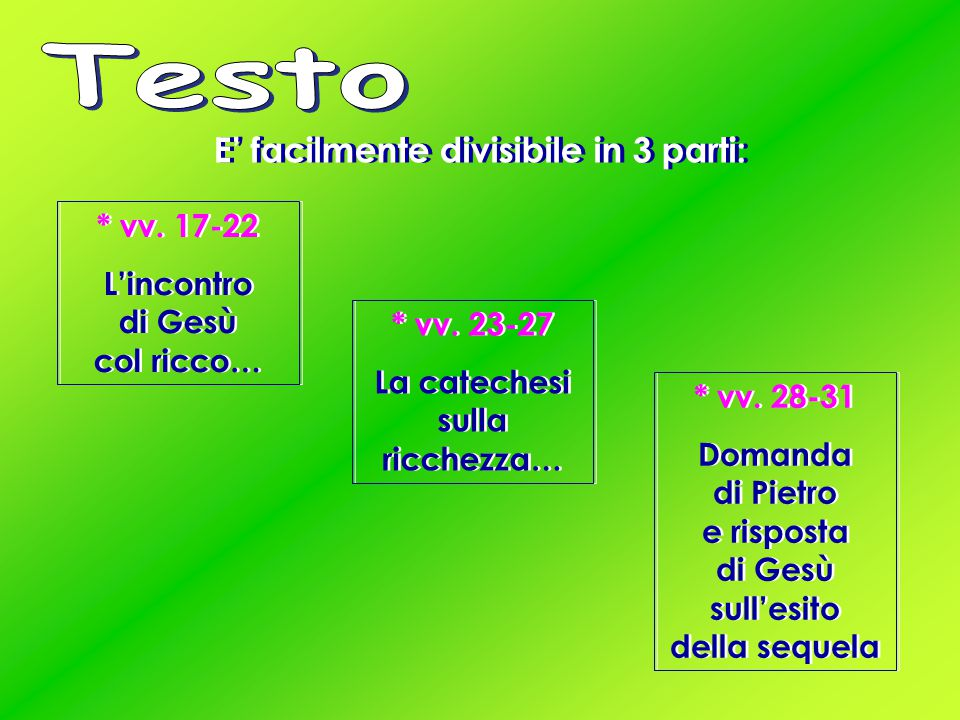 Testo E' facilmente divisibile in 3 parti: * vv. 17-22