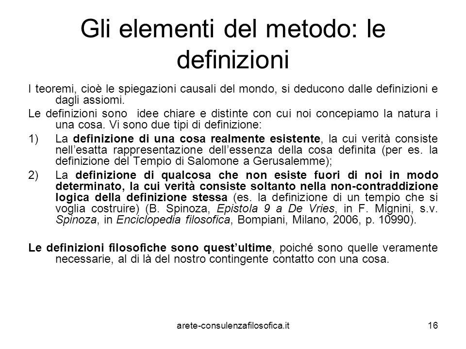 Gli elementi del metodo: le definizioni