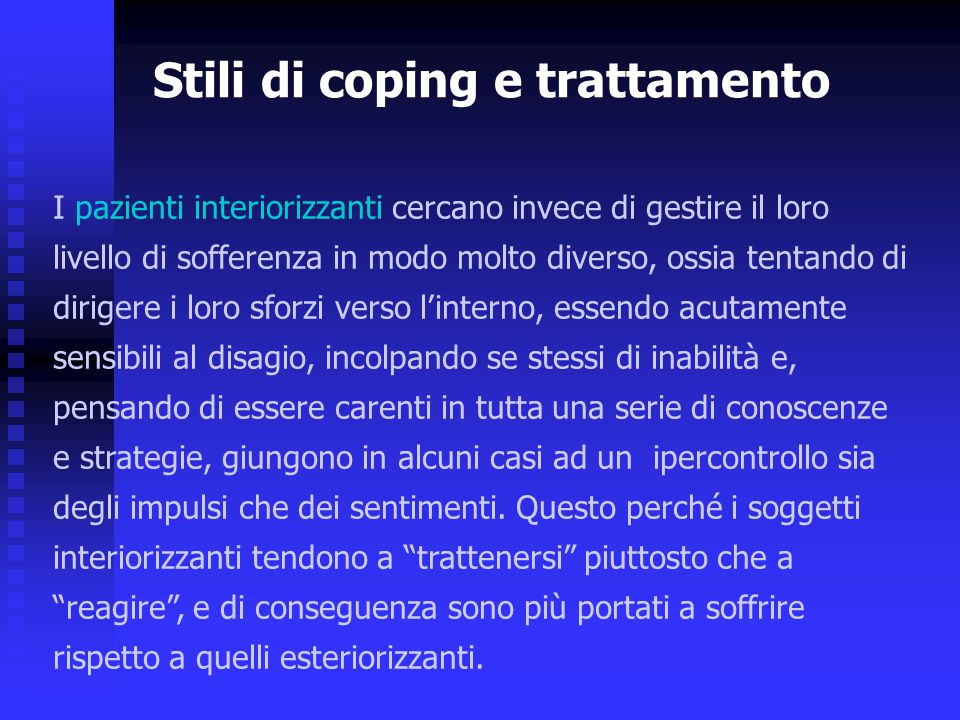 Stili di coping e trattamento