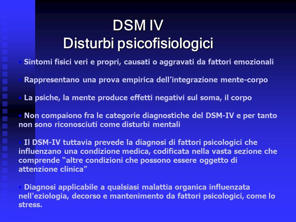 DSM IV Disturbi psicofisiologici