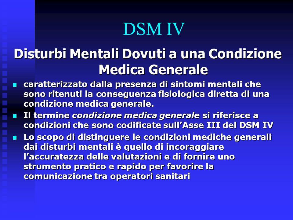 Disturbi Mentali Dovuti a una Condizione Medica Generale