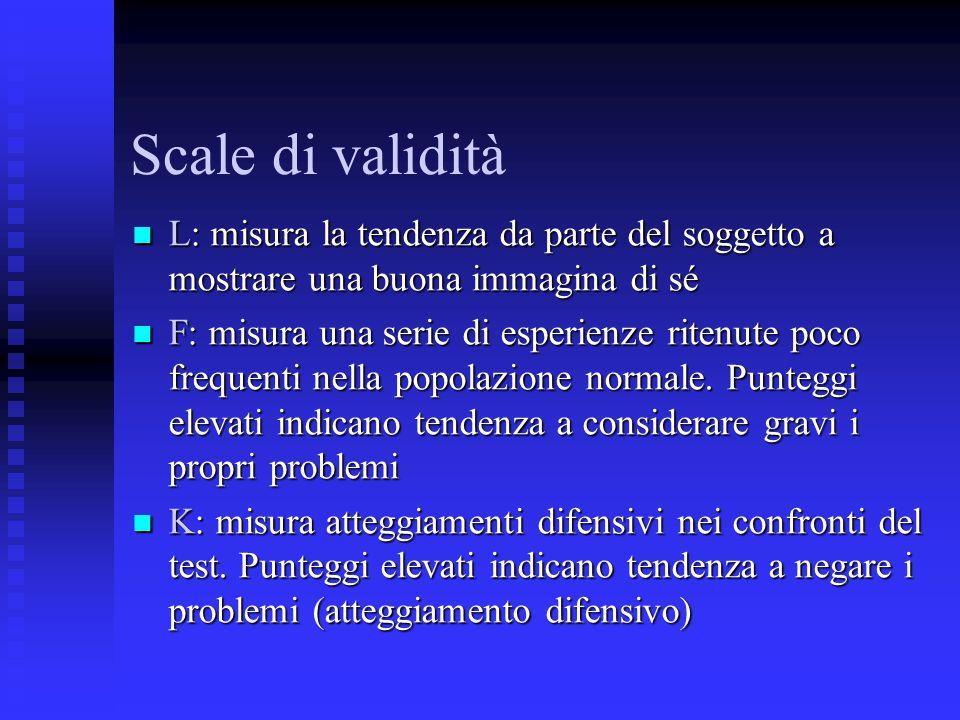 Scale di validità L: misura la tendenza da parte del soggetto a mostrare una buona immagina di sé.