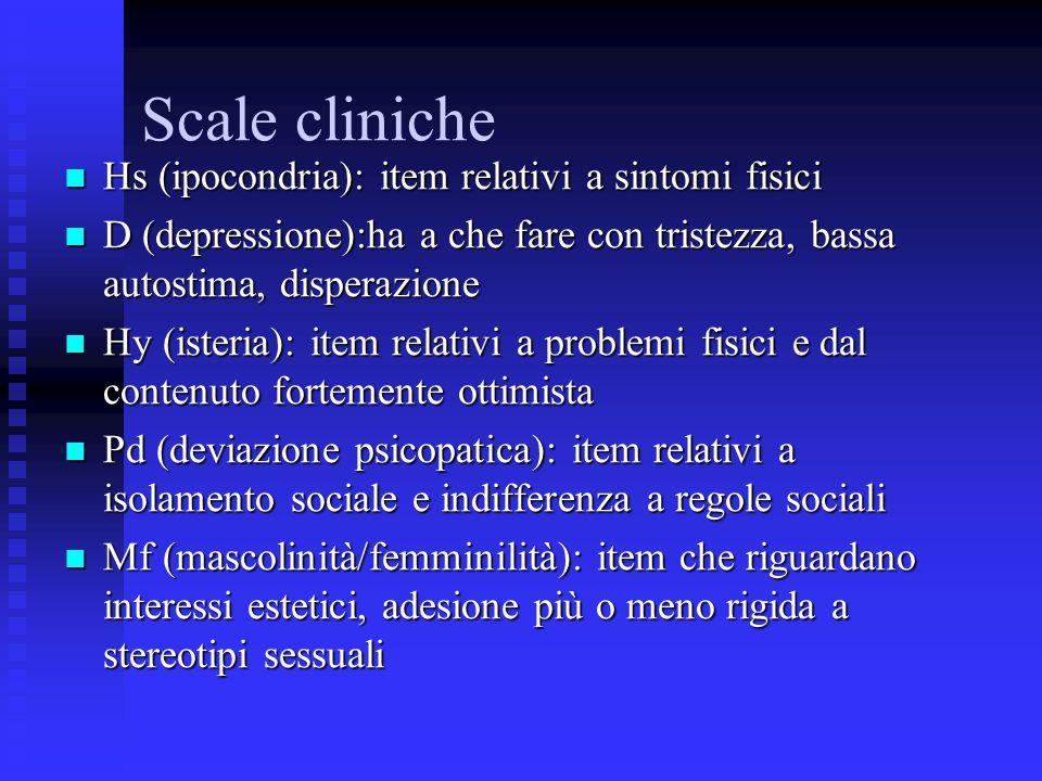 Scale cliniche Hs (ipocondria): item relativi a sintomi fisici