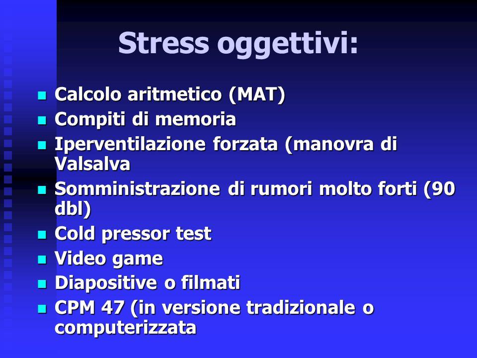 Stress oggettivi: Calcolo aritmetico (MAT) Compiti di memoria